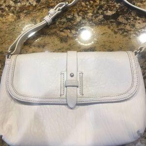 Textured white leather crossbody bag